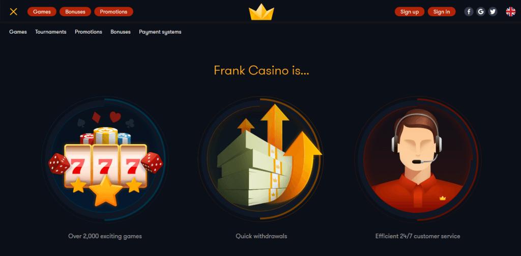 frank casino promo